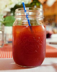 A Manitoba Caesar, Canada's take on a Bloody Mary, served in a Mason jar