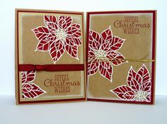 """handmade Christmas cards from Perry Papercrafts: Christmas Cobbler ... two variations using the same materials and basic design ... kraft base .. deep red  ink for sentiment and coloring  and ribbon and mat layer ... white embossed veined poinsettias  and sponged edges ...  placement of flowers and sentiment but same """"look"""" ... luv the way the flowerers look on kraft ... Stampin' Up!"""
