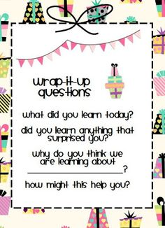 Positively Learning: Wrap It Up! Comprehension Freebie