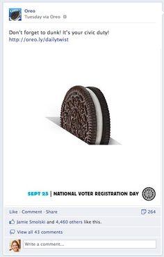Oreo post for voter reg day