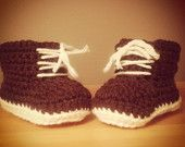 Just Like Dad: baby #crochet booties with coloured sole and lace-up by Careful's Crochet on Etsy