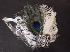 lovely vintage headdress/fascinator.  nice feather brooch combination.