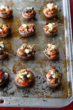 Southwestern Stuffed Mushrooms Recipe with Black Beans, Brown Rice & Red Pepper | cookincanuck.com #vegetarian #MeatlessMonday