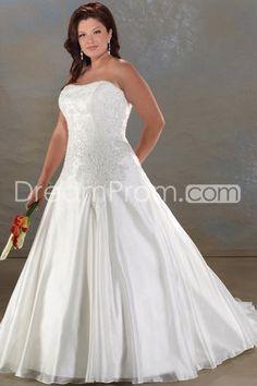 Dedicate A-Line/Princess Strapless Chapel Appliques Plus Size Bridal Gowns (3H0024)