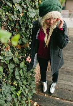 cream boots + black skinnies + red sweater + gray jacket + green beanie