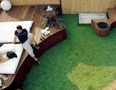 Arquitectura de Casas: Terraza jardín con deck de madera