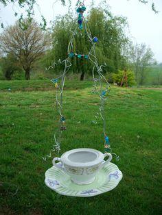 Recycled Vintage China Garden Bird Feeder, Beaded Wire Hanging Bird Feeder - Garden Decor