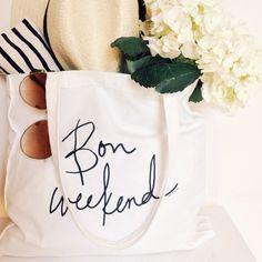 The 'Bon Weekend' Canvas shopper, $20