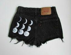 fashion, cloth, style, jean short, shorts, closet, moon short, diy, moon phase
