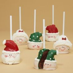 Mrs. Claus brownie pops