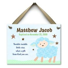 """Twinkle, Twinkle little star, what a gift from God you are"" Personalized wall tile baptism gift $39"