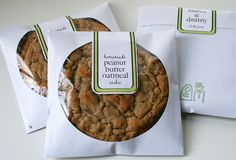 cute packaging for a yummy cookie favor  recipe here  http://annies-eats.net/2010/04/13/peanut-butter-oatmeal-sandwich-cookies/