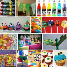 street party, cookie monster, party hats, sesam street, kid birthdays, 2nd birthday, parti idea, kid birthday parties, birthday ideas