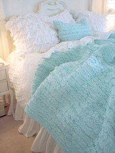 Dreamy Aqua Blue Ruffles.... cottage chic, beach cottages, ruffl, aqua blue, shabby chic, cottage life, white bedding, bedroom, shabby cottage