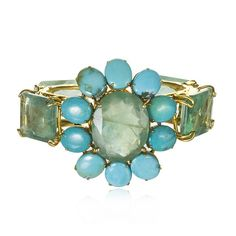 Charm & Chain | Fluorite and Turquoise Flower Cuff - Bracelets - Jewelry