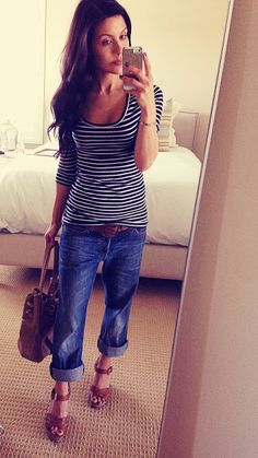 Boyfriend Jeans, striped tee and wedges