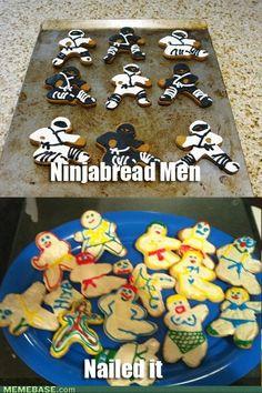 Ninjabread Men - Nailed it! #funny ninjabread men, craft, beds, bikinis, breads, baking, cookie cutters, ninjas, cookies