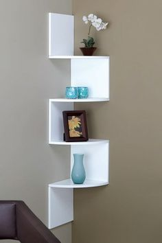 """Another inexpensive way to convert dead corner. Bathroom, kid room, stairwell, kitchen, etc. No room for a night stand? """"Provo"""" wall shelf 12""""X12""""X57 for Nexxt by Linea."""