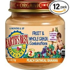 Earth's Best Organic 2nd Fruit & Whole Grain Combo (Peach, Oatmeal, Banana), 4 Ounce Jars (Pack of 12)