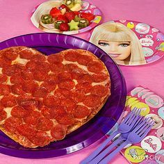 Dolls will love this fab meal!  Shape the dough into a heart, or simply trim a ready-made pie into a heart with a pizza cutter and serve on Barbie plates!