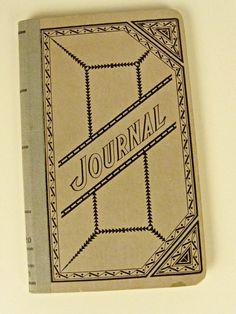 vintage Journal book - grey-green - cloth spine - 12.00