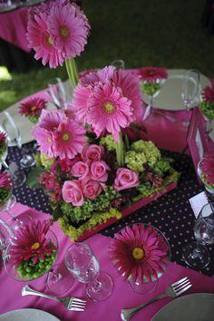 pink gerbera daisy centerpiece by mysplendidsentiments.com