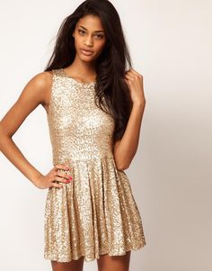 gold sequin dress / asos