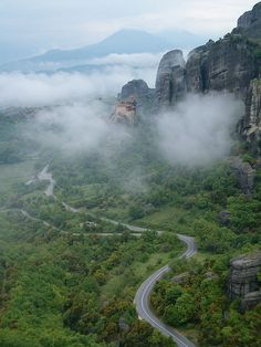 The road to Meteora, Greece