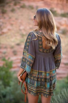 country dress + ombre hair
