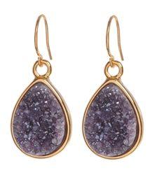 Marcia Moran Gold Plated Earrings with Teardrop Purple Druzy #prom #earrings