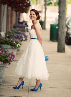 Oleg Cassini Strapless Tulle Embellished Tea Length Gown Style CPK437 #davidsbridal #realweddings #bridalgown #weddingdress