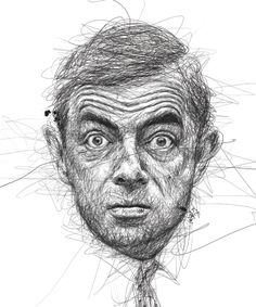 """creative portrait drawing """"Faces"""" by Vince Low 2013-04 from Kuala Lumpur, Malaysia (via Behance 8234027) • depicted: Rowan Atkinson"""