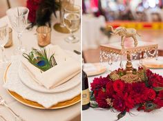 Both of these photos show the versatility of peacock feathers.#weddings