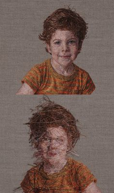 Front and back of a photo-realistic embroidered portrait by Cayce Zavaglia