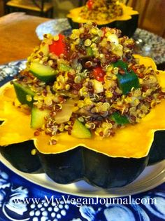 Festive Acorn Squash! Easy, delicious and #vegan! Perfect for the holiday season! Beautiful presentation! #MyVeganJournal