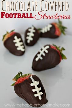 This is perfect for the Super Bowl!! Chocolate Covered Football Strawberries