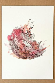 Kind of a cross between a fox and a peacock...neat watercolor tattoo idea. tattoo ideas, watercolor tattoos, tattoo bro