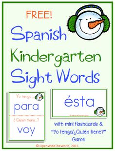 Open Wide the World: Kindergarten Spanish Sight Word FREEBIE! Snowman Edition