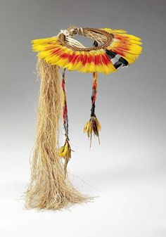 Brazil ~ Mato Grosso State | Crown from the Enawené Nawé people | Feather, cotton and vegetable fibers.
