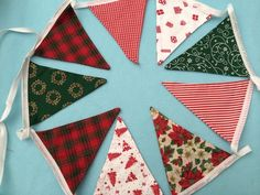 10 ft double sided  bunting,banner,flag,wedding  in christmas  cotton  fabrics £7.99