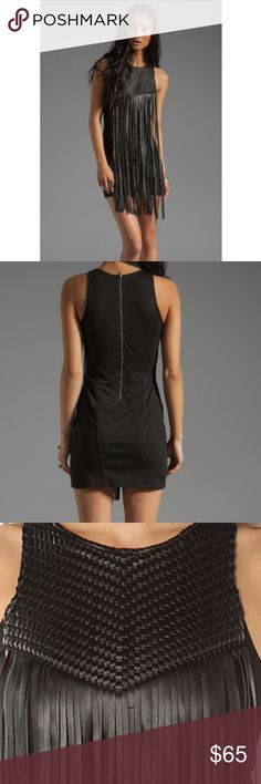 Twin Total Recall Woven Paneled Mini Dress In Black With Faux Leather