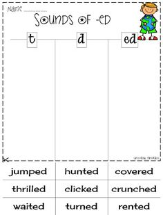 Sounds of -ed (t, d, ed) ELA Printables