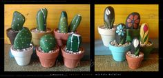 cactus e fiori di pietra - I like the simple design of this rock painter's cacti and flowers.