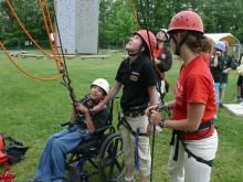 The Accessible Ropes Course at Brock University allows anyone to be 30 feet in the air!