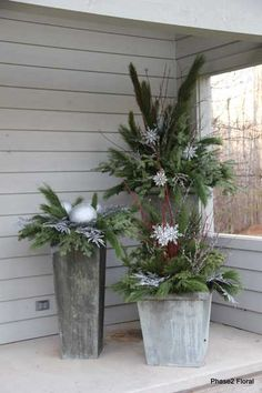 flower containers, garden planters, holiday pot, outdoor pots, outdoor christmas decor