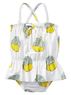 adorable lemon peplum one piece