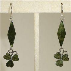 St. Patrick's Day Earrings - Connemara Marble Clover Earrings