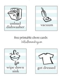 Printable chore cards...LOVE these!