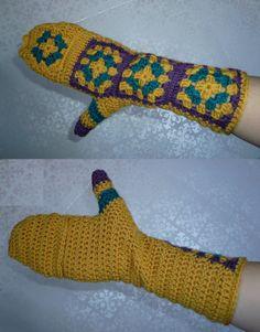 crochet granny square glittens!