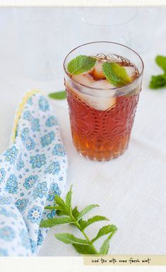 ice tea with fresh mint